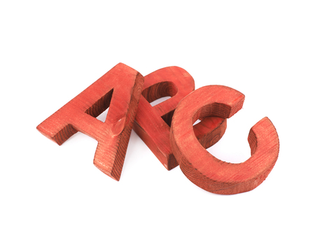 studio b: ABC composition made of colored wooden letters isolated over the white background Stock Photo