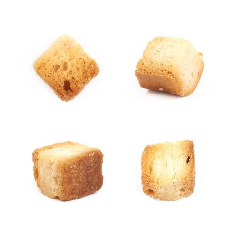 crouton: Single white bread garlic crouton isolated over the white background set of four different foreshortenings Stock Photo