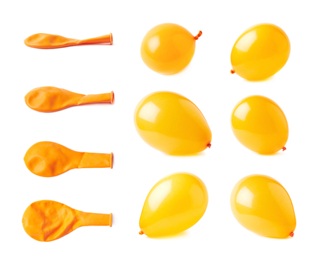 Inflated and deflated orange rubber air balloons isolated over the white background, set collection of multiple different foreshortenings