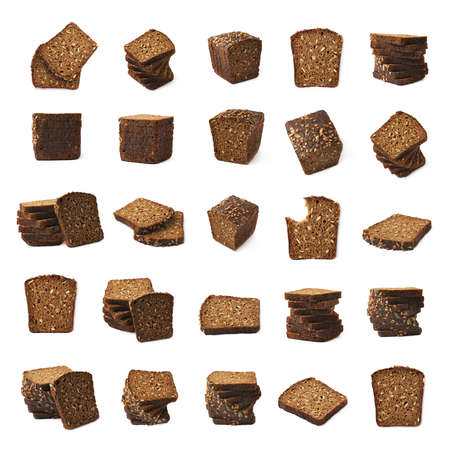 multiple images: Set of multiple black bread images of different compositions and foreshortenings Stock Photo