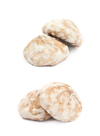 Pile of Russian gingerbread cookies isolated over the white background, set of two different foreshortenings Stock Photo