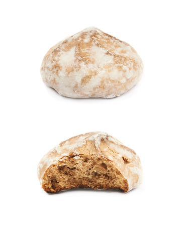 Single russian gingerbread cookie isolated over the white background, set of two different foreshortenings