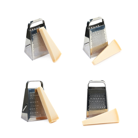 Grater and Parmigiano-Reggiano parmesan cheese composition isolated over the white background, set of four different foreshortenings