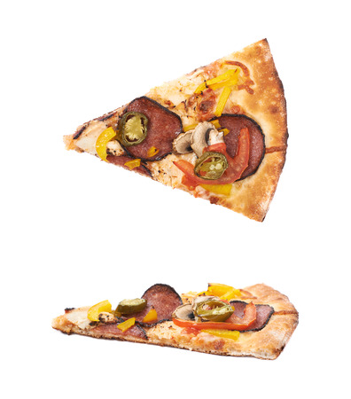 Slice of a mexican pizza isolated over the white background, set of two different foreshortenings