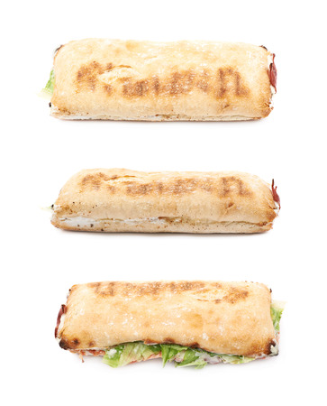 sandwitch: Sub sandwich isolated over the white background, set of three different foreshortenings