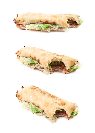 sandwitch: Sub sandwich with a single bite taken of isolated over the white background, set of three different foreshortenings