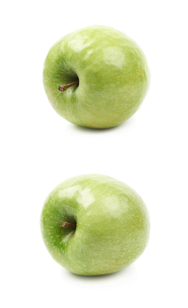 granny smith apple: Single ripe and green granny Smith apple isolated over the white background, set of two different foreshortenings