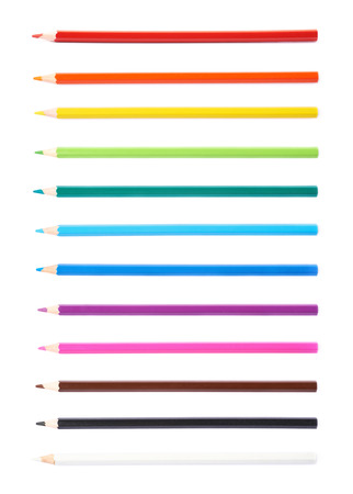 color pencils: Set of multiple color pencils isolated over the white background Stock Photo