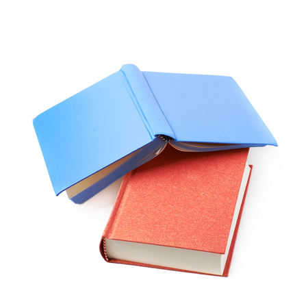 Red and blue book composition isolated over the white background Stock Photo