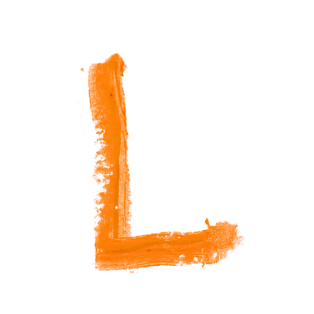 Single abc latin letter L symbol drawn with a wax crayon isolated over the white background
