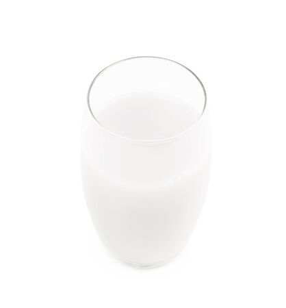 tall glass: Tall glass filled with milk isolated over the white background