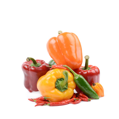 bell peper: Pile of bright and colorful ripe peppers isolated over the white background Stock Photo