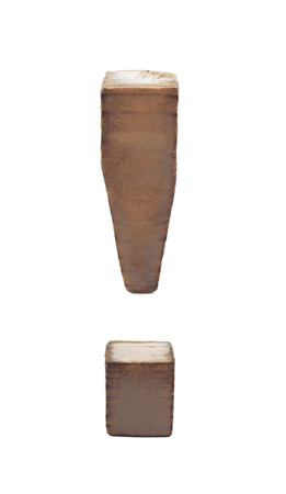 sawn: Exclamation point symbol sawn of wood and paint coated, isolated over the white background