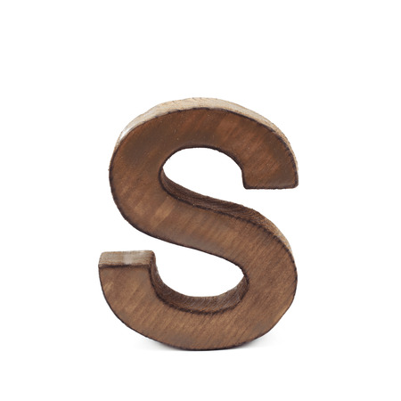 sawn: Single sawn wooden letter S symbol coated with paint isolated over the white background