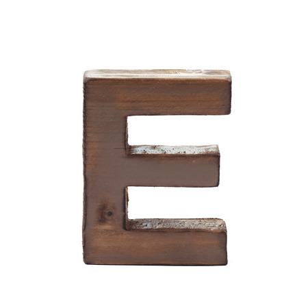 sawn: Single sawn wooden letter E symbol coated with paint isolated over the white background