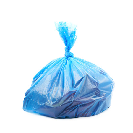 degradable: Filled blue plastic garbage bag isolated over the white background Stock Photo