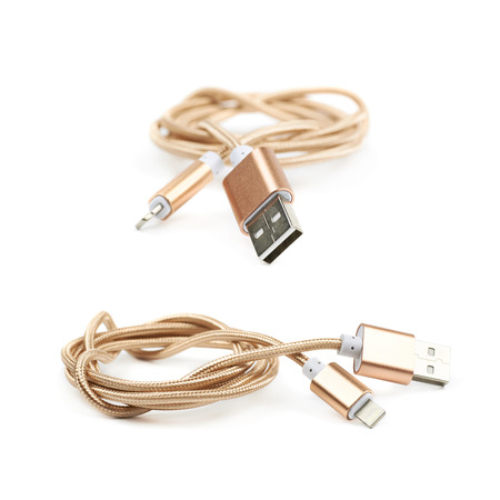 lightning speed: Folded USB lightning golden cable isolated over the white background, set of two different foreshortenings Stock Photo
