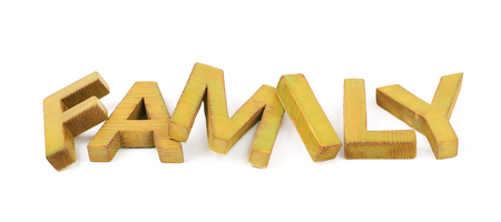Word Family made of colored with paint wooden letters, composition isolated over the white background Stock Photo