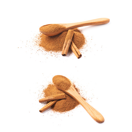 cinnamon bark: Pile of cinnamon powder with the wooden spoon and raw bark sticks on top of it, composition isolated over the white background, set of two different foreshortenings