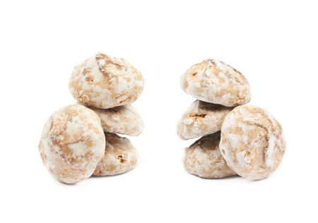 spicecake: Pile of Russian gingerbread cookies isolated over the white background, set of two different foreshortenings Stock Photo