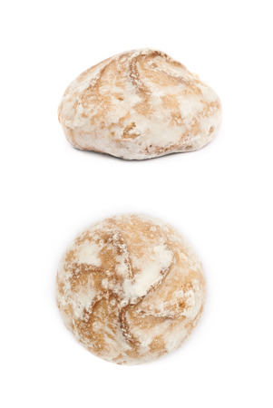 spicecake: Single russian gingerbread cookie isolated over the white background, set of two different foreshortenings