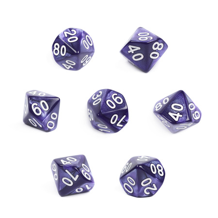 roleplaying: Violet roleplaying polyhedral heptagonal trapezohedron gaming plastic dice isolated over the white background, set of seven different foreshortenings