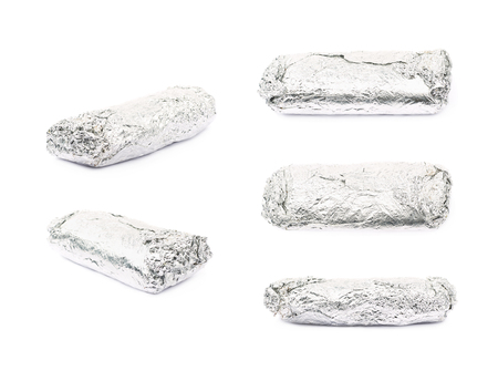 sandwitch: Sub sandwich wrapped in silver metal foil isolated over the white background, set of five different foreshortenings