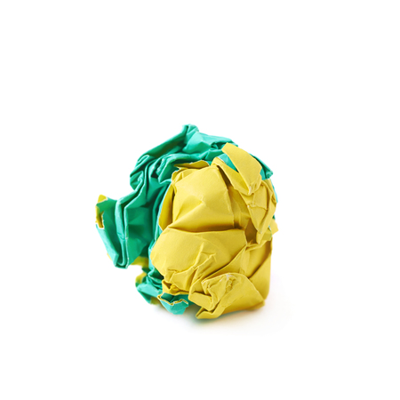 crumbled: Colorful crumbled paper ball isolated over the white background