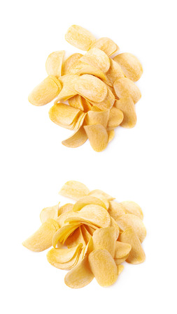 Pile of multiple potato chips isolated over the white background, set of two different foreshortenings
