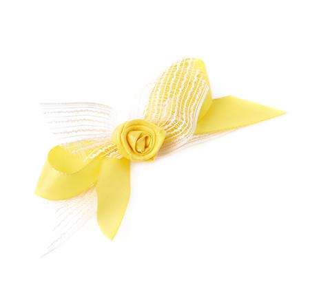 gefesselt: Decorational bow with the tape flower, isolated over the white background Lizenzfreie Bilder