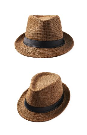 fedora: Brown fedora hat isolated over the white background, set of two different foreshortenings Stock Photo