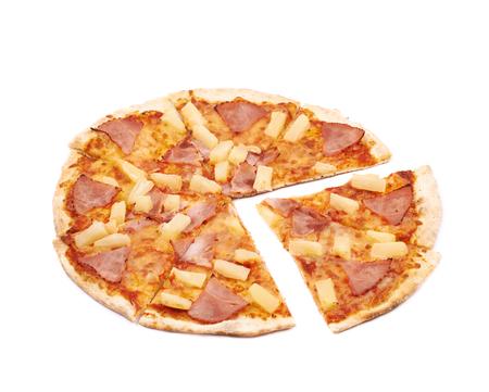 marinara sauce: Whole hawaiian pizza sliced, composition isolated the white background