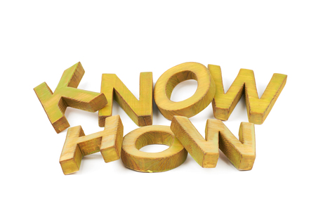 knowhow: Words Know How made of colored with paint wooden letters, composition isolated over the white background