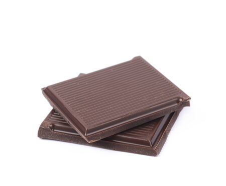 two pieces: Two pieces of chocolate bars isolated over the white background