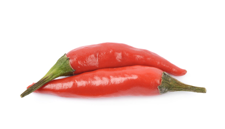 capsaicin: Few red italian peppers, composition isolated over the white background