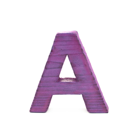 sawn: Single sawn wooden letter A symbol coated with paint isolated over the white background Stock Photo