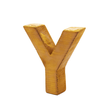 sawn: Single sawn wooden letter Y symbol coated with paint isolated over the white background