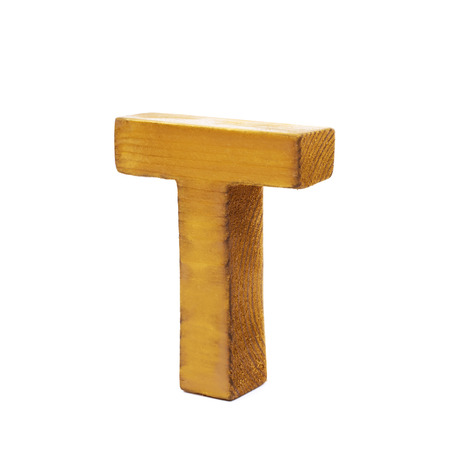 sawn: Single sawn wooden letter T symbol coated with paint isolated over the white background