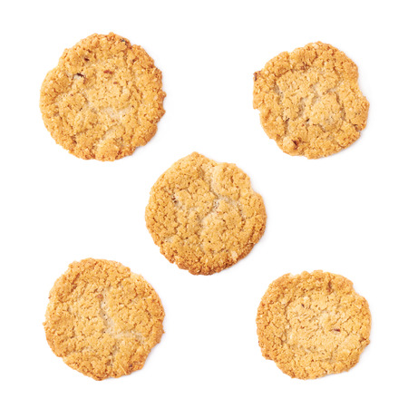 oatmeal cookie: Thin oatmeal cookie isolated over the white background, set of five different foreshortenings Stock Photo