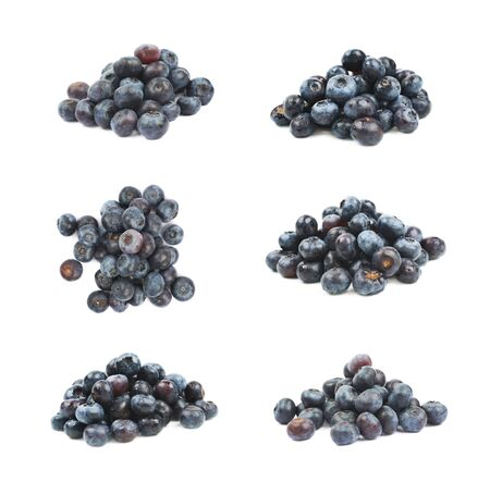 bilberries: Pile of ripe bilberries isolated over the white background, set of six different foreshortenings