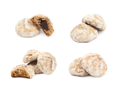 Pile of Russian gingerbread cookies isolated over the white background, set of four different foreshortenings