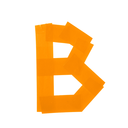 studio b: Letter B symbol made of insulating tape pieces, isolated over the white background
