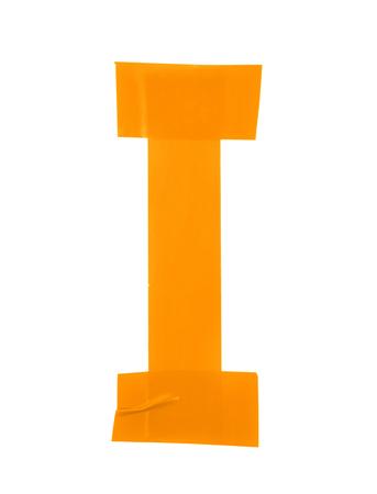 rectangulo: símbolo de la letra I hecha de piezas de cinta aislante, aislada sobre el fondo blanco Foto de archivo