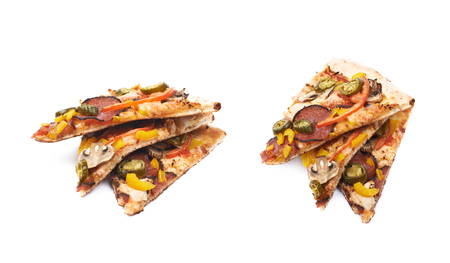 marinara sauce: Three slices of a mexican pizza isolated over the white background, set of two different foreshortenings