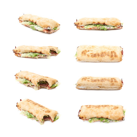 sandwitch: Sub sandwich isolated over the white background, set of eight different foreshortenings