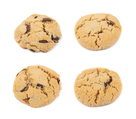 chewy: Single soft chewy chocolate chip cookie isolated over the white background, set of four different foreshortenings