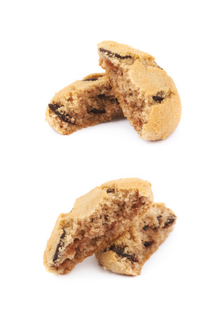 chewy: Soft chewy chocolate chip cookie isolated over the white background, set of two different foreshortenings