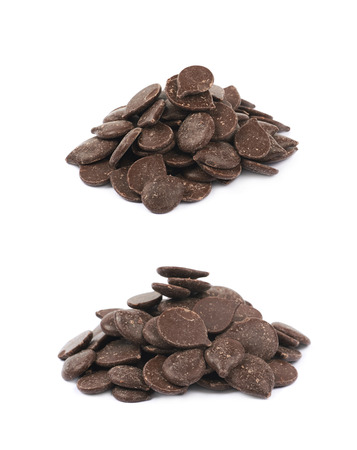 semisweet: Pile of cooking chocolate teardrop shaped chips isolated over the white background, set of two different foreshortenings Stock Photo