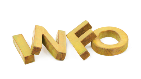 Word Info made of colored with paint wooden letters, composition isolated over the white background Stock Photo