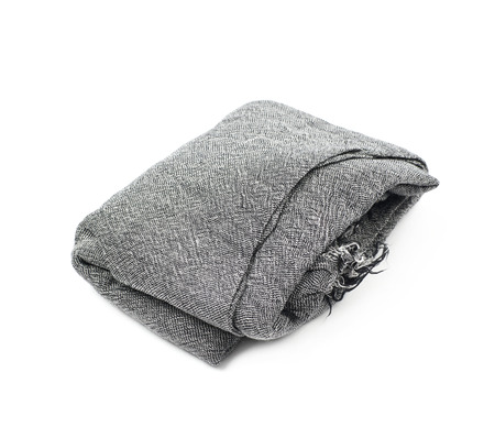 warm cloth: Folded gray scarf isolated over the white background Stock Photo